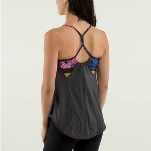 Lululemon roll out tank heathered black/petal